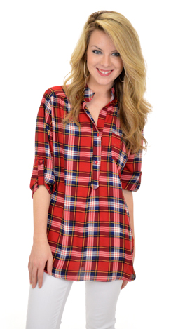 Plaid About You Top, White