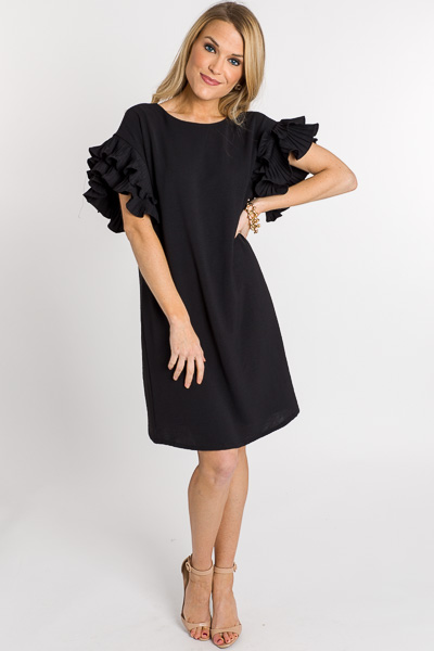 Pleated Sleeves Shift, Black