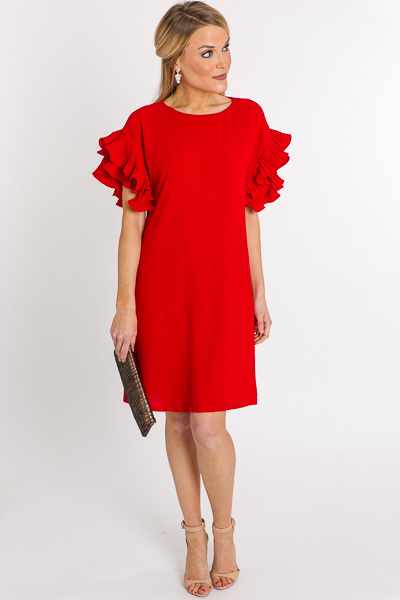 Pleated Sleeves Shift, Red