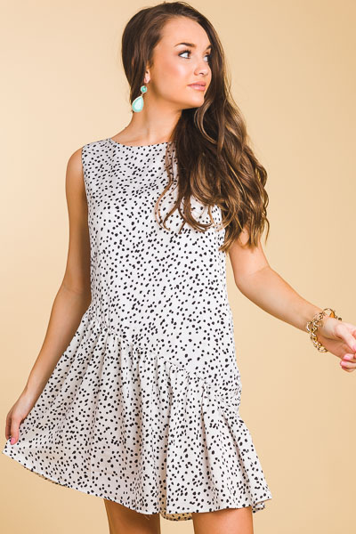 Slant Spotted Dress, Ivory