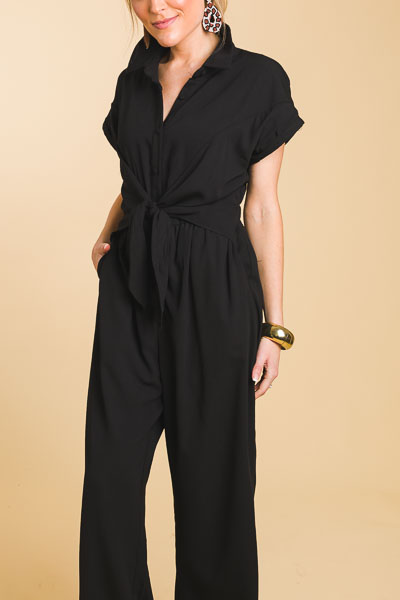 Tie Waist Collared Jumpsuit, Black