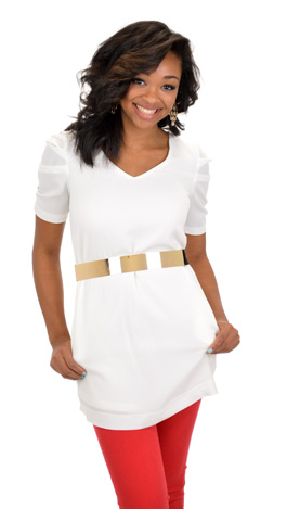 Solid Crepe Dress, White