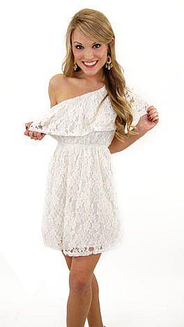Best Basic One Shoulder, Lace Ivory White