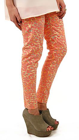Coral Leopard Jeans
