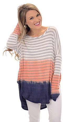 Fade to Stripe Tunic, Coral