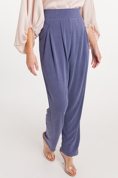 Side Button Soft Pants, Denim Blue