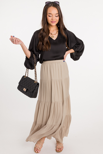 Satin Feel Maxi Skirt, Oxford