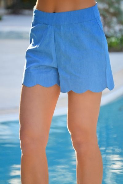 Katherine Scallop Short, Chambray