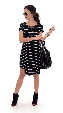 Stripes and Pockets Tunic, Black