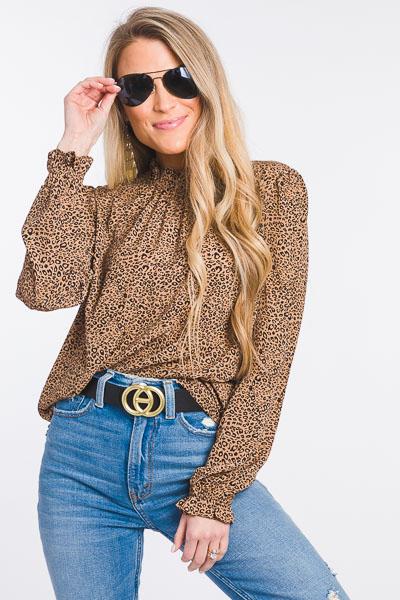 Cheetah High Neck Blouse