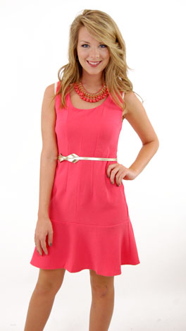 Fit & Flare Dress, Coral
