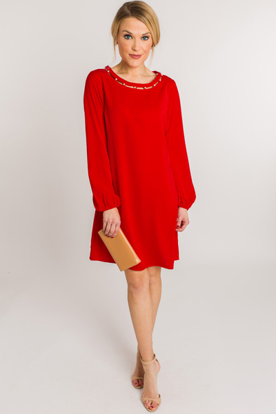 Pearl Neck Shift, Red