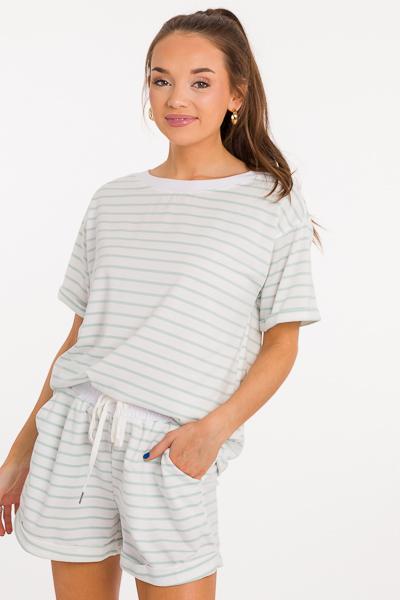 Cuff Stripe Short Set, Mint