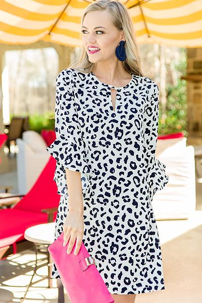Liza Bell Sleeve Dress, Navy
