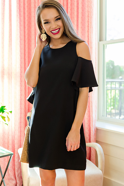Birdie Ruffle Dress, Black
