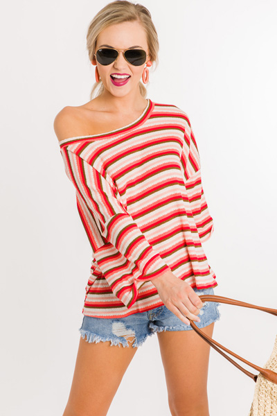 Boxy Stripe Top, Coral