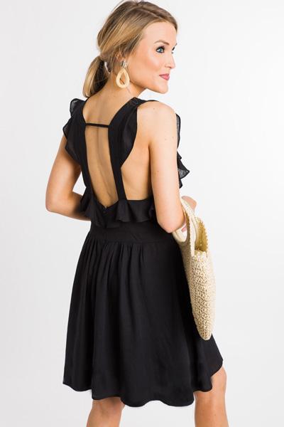 Ruffled Straps Linen Dress