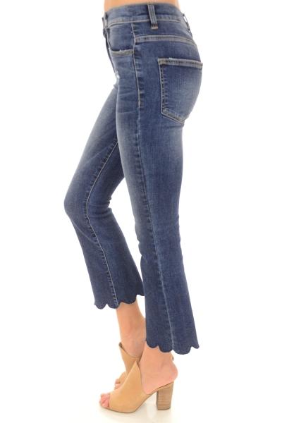 Scallop Hem Jeans
