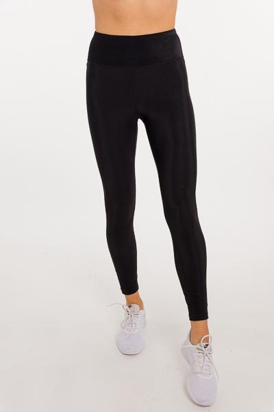 Ribbed Texture Leggings, Black
