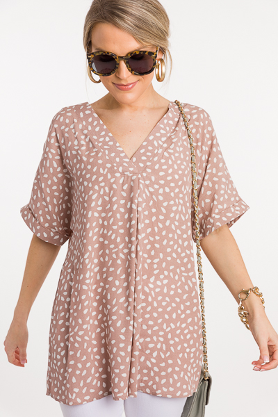 Speckled Pleat Blouse, Taupe