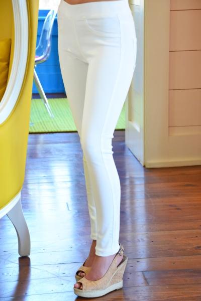 Elyse Denim Leggings, White