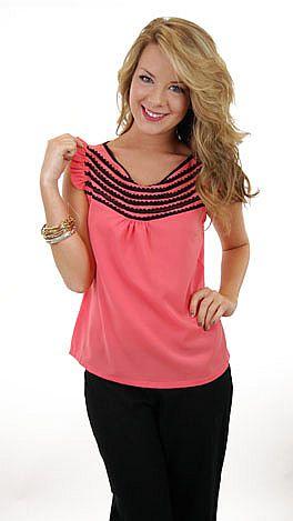 Black Stripe Lace Trim Top