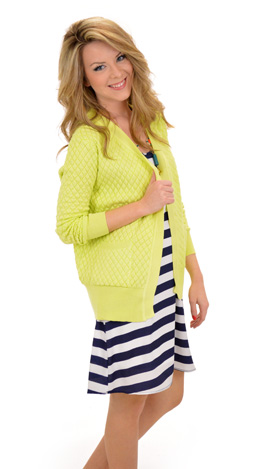 Quilted Cardi, Yellow