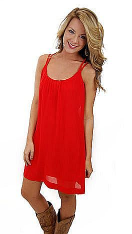 Firm Foundation Frock, Red