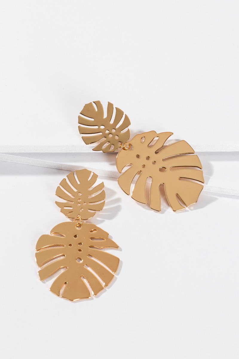 Gold Palm Post Earring