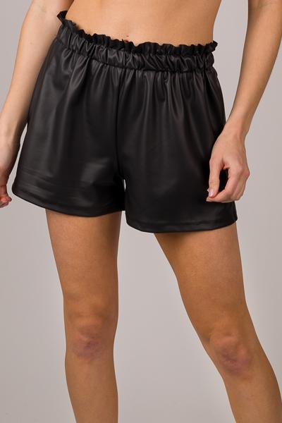 Light Leather Shorts, Black