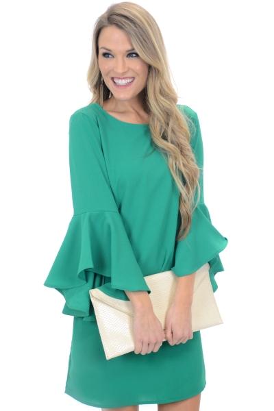 Cascade Sleeves Dress, Green