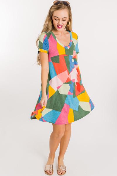 Be Square Swing Dress, Multi