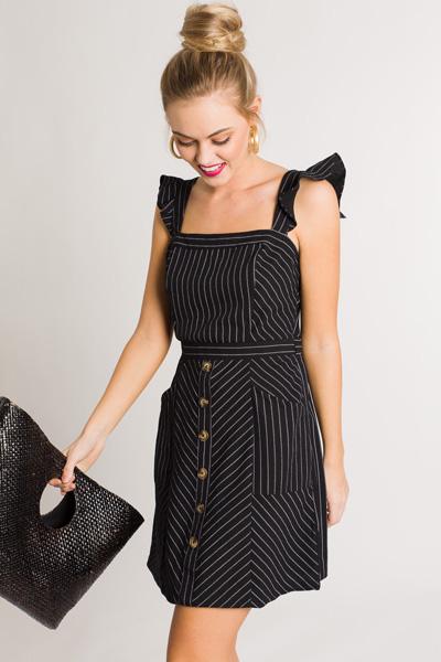 Black Stripes Button Dress