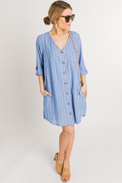Pinstripe Button Down Dress