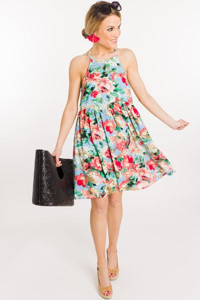 Spring Florals Dress, Blue