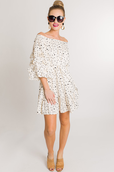 Caitlyn Dotted Ruffle Dress