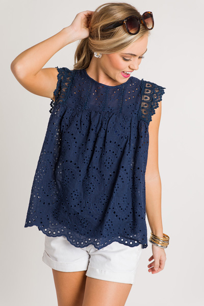Eyelet Scallop Edge Top, Navy