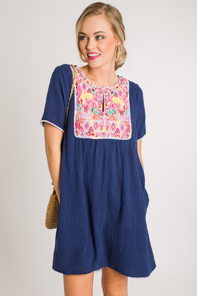 Tribal Embroidery Shift, Navy