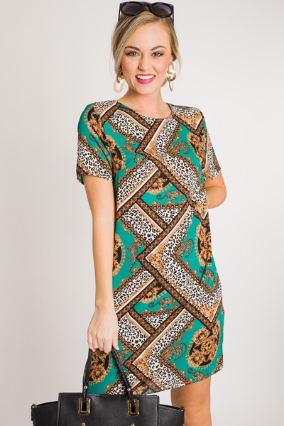 Jaguar Print Shift Dress
