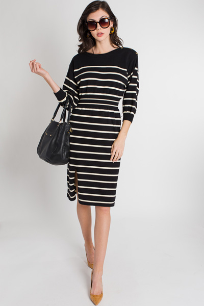 Sweater Knit Striped Midi