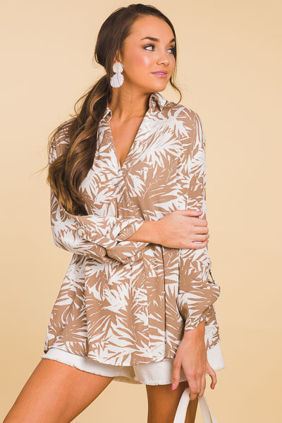 Collared Palm Tunic, Taupe