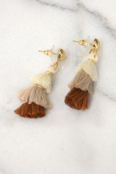 Tiny Tassel Earring, Taupe Multi