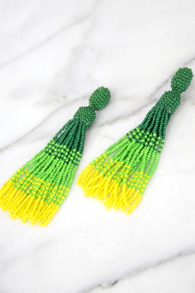 Colorblock Tassels, Green Yellow