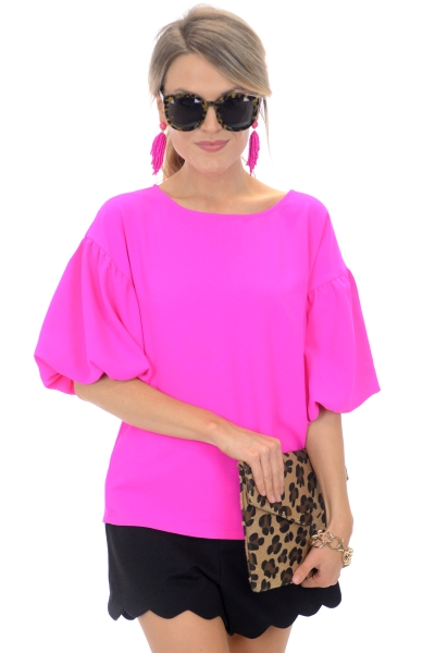 Amie Puff Sleeve Top, Pink