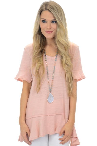 Bella V-Neck, Dusty Pink
