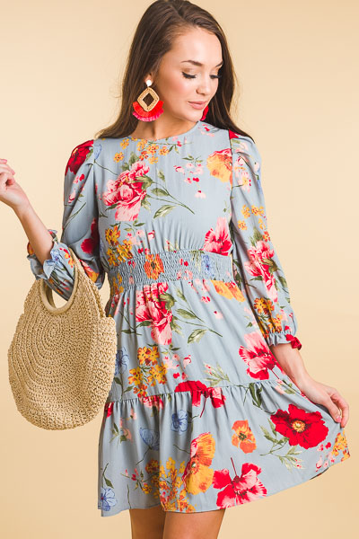Romantic Floral Dress, Blue