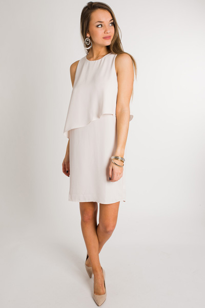 Asymmetric Flounce Dress, Pearl