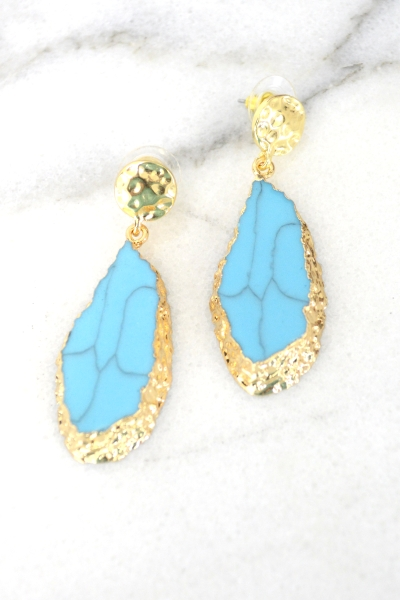 Stone Slice Earring, Turquoise
