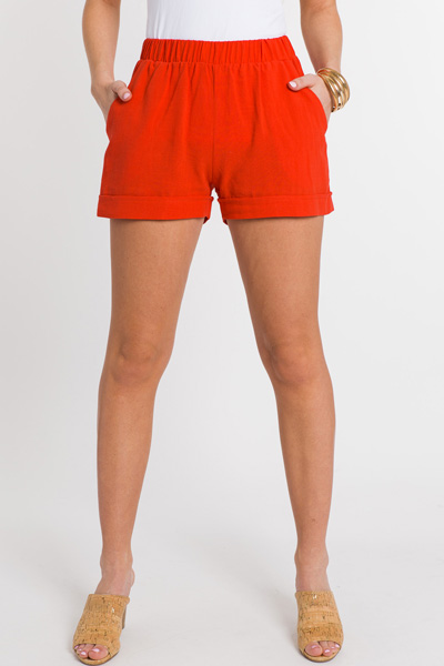 Cuffed Pull On Shorts, Red