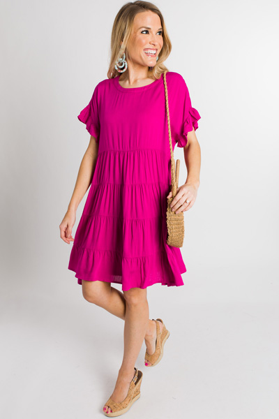 Tiers of Color Dress, Fuchsia